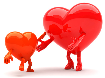Heart shaped mother and a child mascots