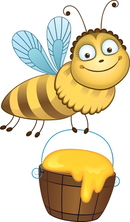 Cheerful bee carries a bucket of honey